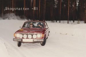 lars-erik torph kör rallyt skogsnatten 1981, röd Volvo